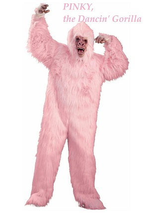 pink gorilla singing telegram character