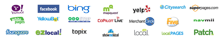 showmelocal,yellowpages,yahoo,local,superpages,citysearch,yelp,foursquare,yext and others