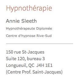 Hypnose ou hypnothérapie à Longueuil sur la Rive-Sud de Montreal Thérapie Par Hypnose Annie Sleeth Repentigny (514)819-0430