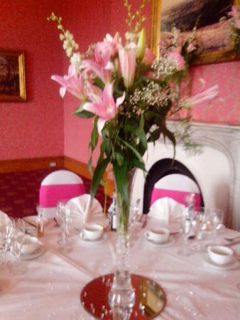Wedding / Venue table centrepiece Four Seasons Florist Wigan 01942 523122