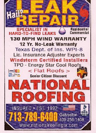 National Roofing LEAK REPAIR - Arcola, TX 77583 - (713)789-6400 | ShowMeLocal.com