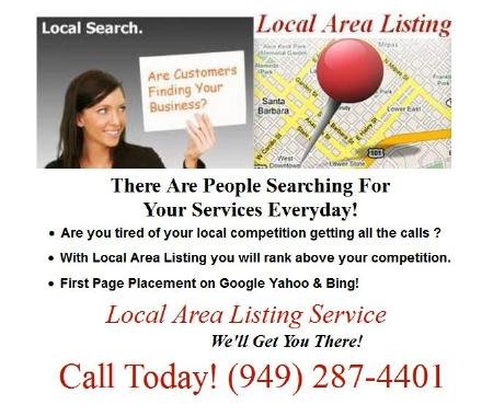 Get Your Business FoundWith A local Area Listing Today!  Call Today! (949) 287-4401 Local Area Listing Fullerton (949)287-4401