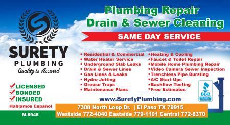 Surety Plumbing - El Paso, TX 79915 - (915)779-1101 | ShowMeLocal.com