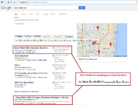 We are a results driven SEO company located in Boca Raton, FL. Many internet marketing claim to be the best, but lack the proof to back up those claims. We let our results do the talking for us, a quick search for Boca Raton SEO on Google.com illustrates very clearly why we should be your first choice for search engine marketing solutions. IF you are looking to take your business to the next level and get serious about revenue growth contact us at http://www.ebusiness-strategies.com/miami-seo/ Boca Raton Seo Company Ebusiness Strategies Boca Raton (561)285-7371