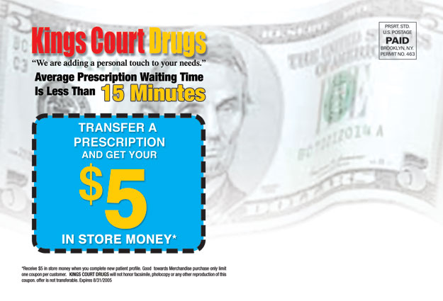 Transfer a Prescription And Get $5 In Store Money